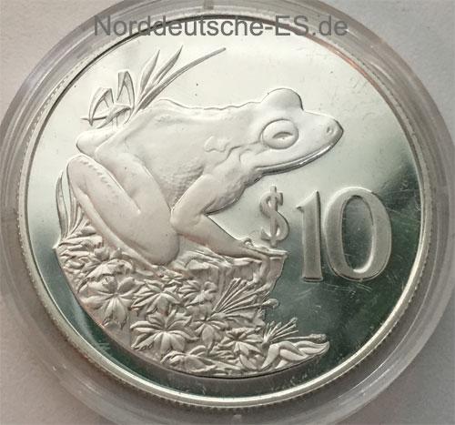 Fidschi Inseln 10 Dollars Silbermuenze Frosch 1986