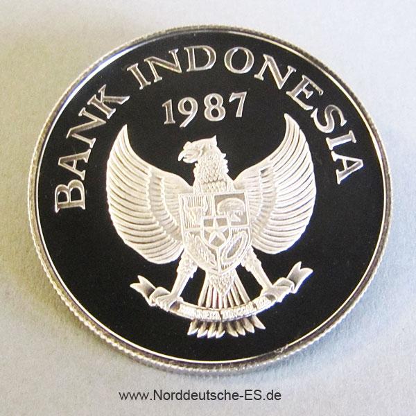 Indonesien 10000 Rupien Silbermünze Hirscheber 1987 Jubiläum 25 Jahre WWF