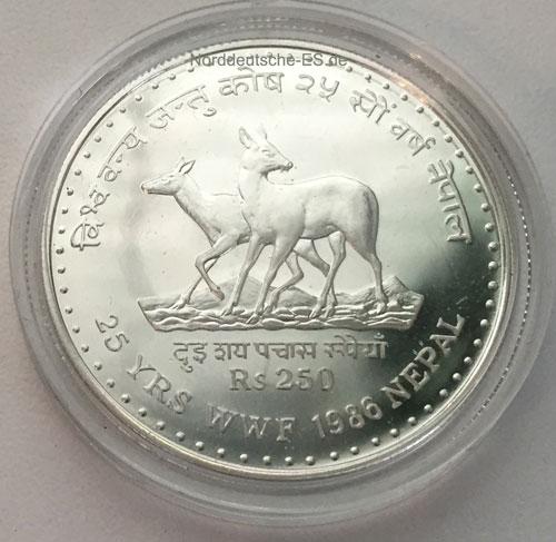 Nepal 250 Rupies Silbermuenze 1986 25 Jahre Wold Wildlife Fund
