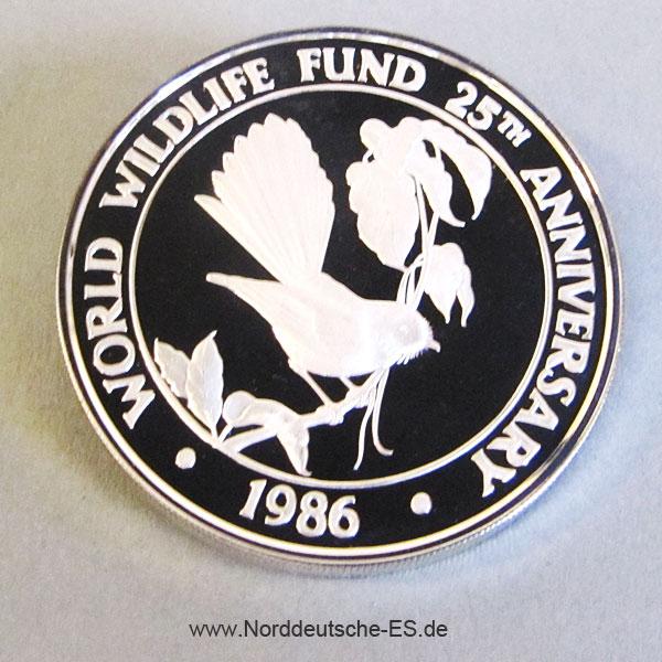 Samoa 10 Tala 1986 Silbermünze Vogel - 25 Jahre WWF
