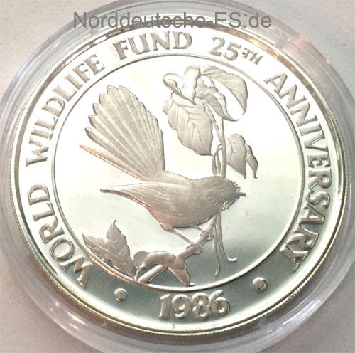 Samoa 10 Tala 1986 Silbermuenze Vogel - 25 Jahre WWF