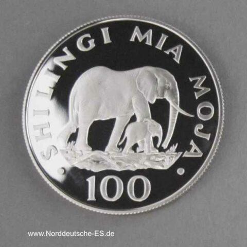 Tansania 100 Shilingi 1986 Elefanten
