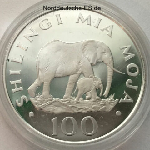 Tansania 100 Shilingi Silbermuenze Mia Moja - 1986 Elefantenkuh mit Baby