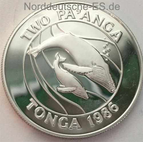 Tonga Two Paanga 1986 Silbermuenze Taufa Ahau Tupou IV 25 J WWF