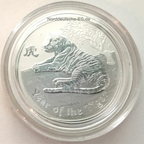 Australien Lunar 1_2oz Feinsilber 999 Year of the Tiger 2010 Anlagesilber