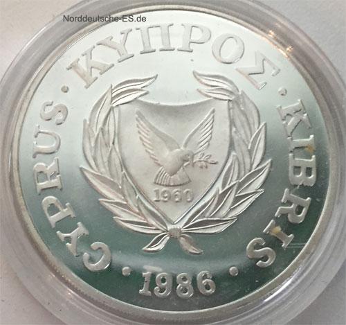 Zypern 1 Lira Silbermuenze 1986 Mufflons 25 Jahre WWF