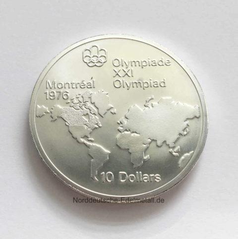 Kanada 10 Dollars 1976 Montreal Silbermuenze 925/1000