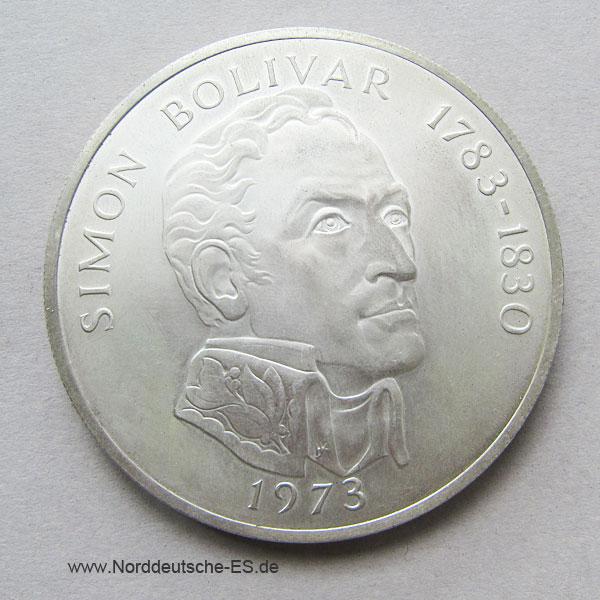 Panama 20 Balboas Silbermünze 1973 Simon Bolivar