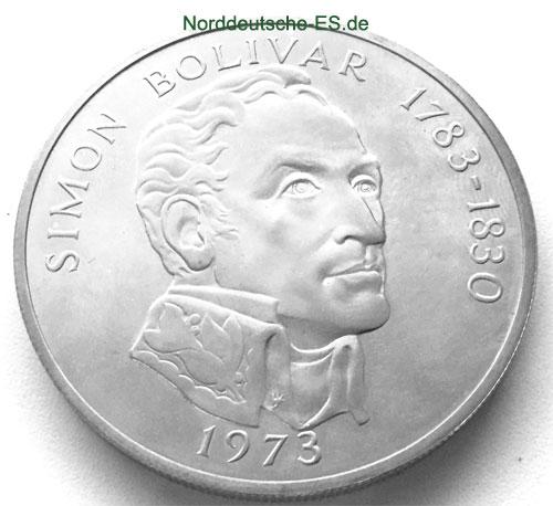 Panama 20 Balboas Silbermuenze 1973