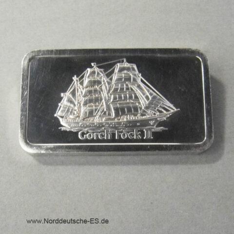 Silberbarren 1 Unze Feinsilber Segelschiff Gorch Fock II Motivbarren Degussa