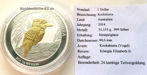 Australien Kookaburra 2014 Feinsilber 999 1oz 24Kt teilvergoldet