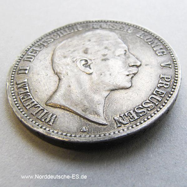 Deutsches Kaiserreich 5 Mark Silber Wilhelm II Preussen 1891-1908