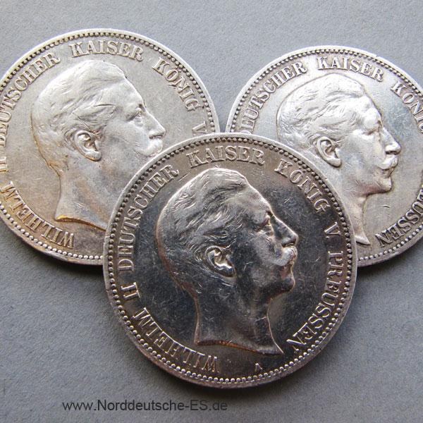 Deutsches Reich 5 Mark Silbermünze Kaiser Wilhelm 1891-1908