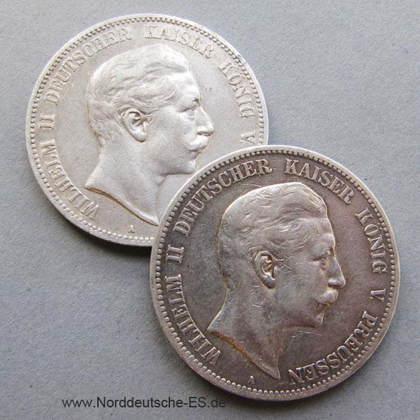 Deutsches Reich 5 Mark Silber Wilhelm II Preussen 1891-1908