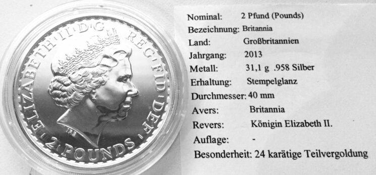 England Britannia 1oz Feinsilber 24Kt teilvergoldet 2013