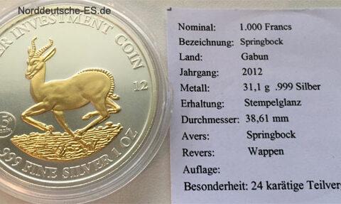 Gabun-1000-Francs-Springbok-1oz-Feinsilber-999-Teilvergoldung-Sonderpraegung
