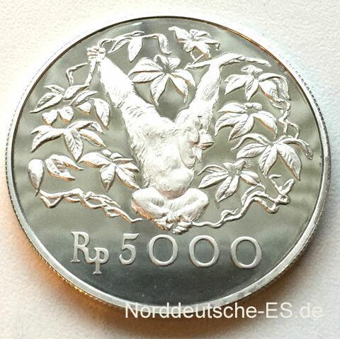 Indonesien 5000 Rupiah 1974 Silbermuenze - Orang Utan
