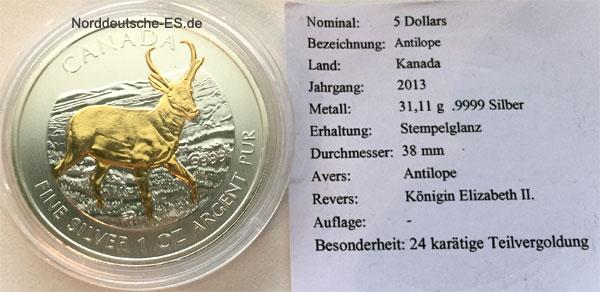 Kanada 5 CAD Antilope1oz Feinsilber 999 Teilvergoldung