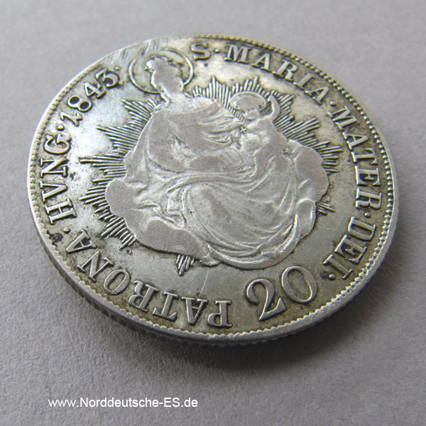 Österreich Ungarn 20 Kreuzer Ferdinand I Maria Mater 1843 B