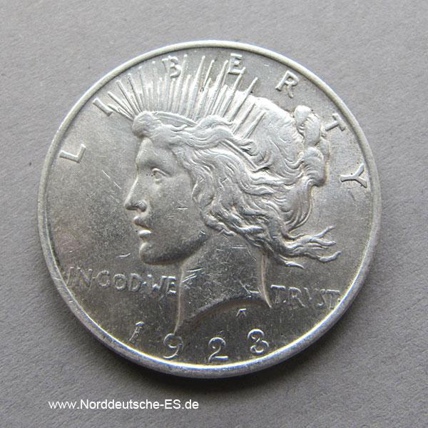 USA 1 Dollar Peace Dollar Liberty Head 1923