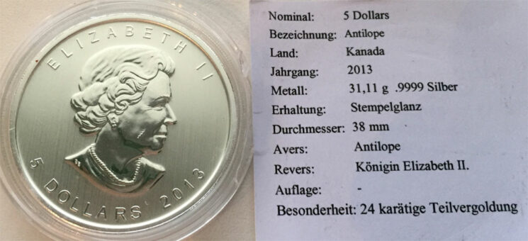 Kanada 5 CAD Antilope1oz Feinsilber 999 Teilvergoldung Sonderpraegung