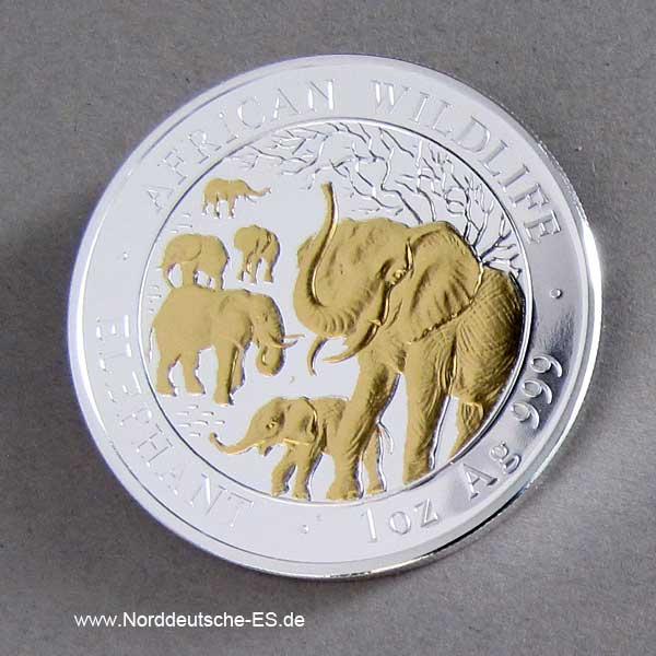 Silbermünze 1 oz teilvergoldet Elephant 2008