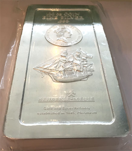 Silberbarren Cook Islands 100oz Münzbarren Feinsilber 999