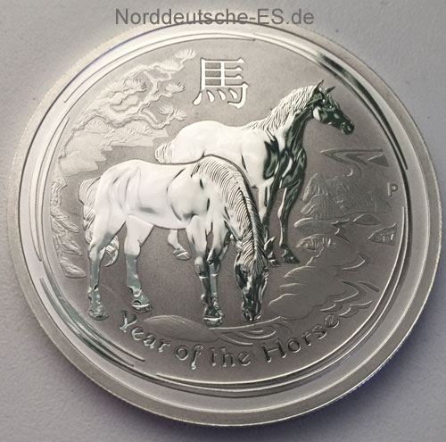 Australien Year of the Horse 2oz Feinsilber 999 Doppelunze Anlagesilber