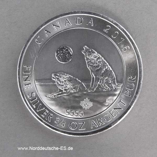 Kanada 2 Dollars 2016 Silber Wolf 3_4 oz Feinsilber 9999 Anlagesilber