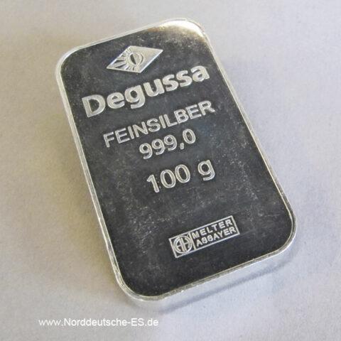 Silberbarren 100g Feinsilber 999 Degussa