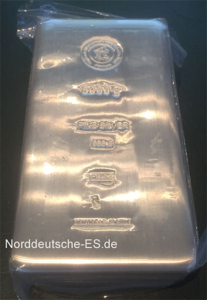 Silberbarren 5Kg Feinsilber 9999 Heimerle Meule