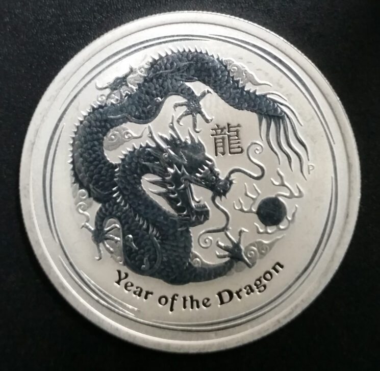 Australien Lunar 1_2oz Feinsilber 999 Year of the dragon 2012