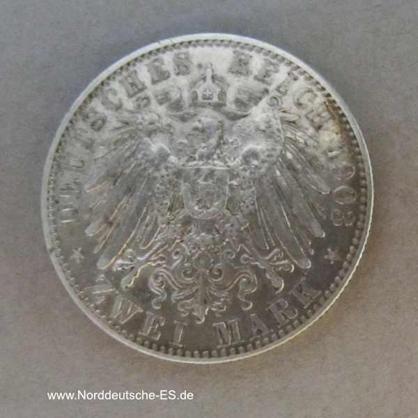 Deutsches Reich 2 Mark Georg König von Sachsen 1902-1904