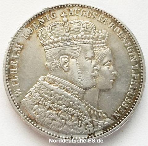 Kroenungstaler 1861 Koenig Wilhelm I Preussen Silbermuenze