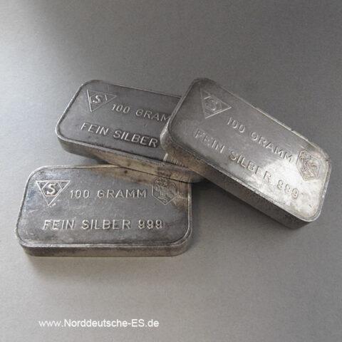 Silberbarren 100g Feinsilber, 999, diverse Hersteller