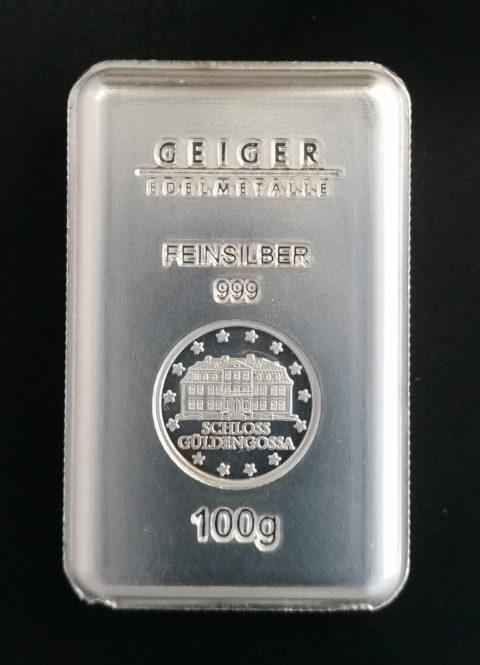 Silberbarren 100g Feinsilber 999 Anlagesilber