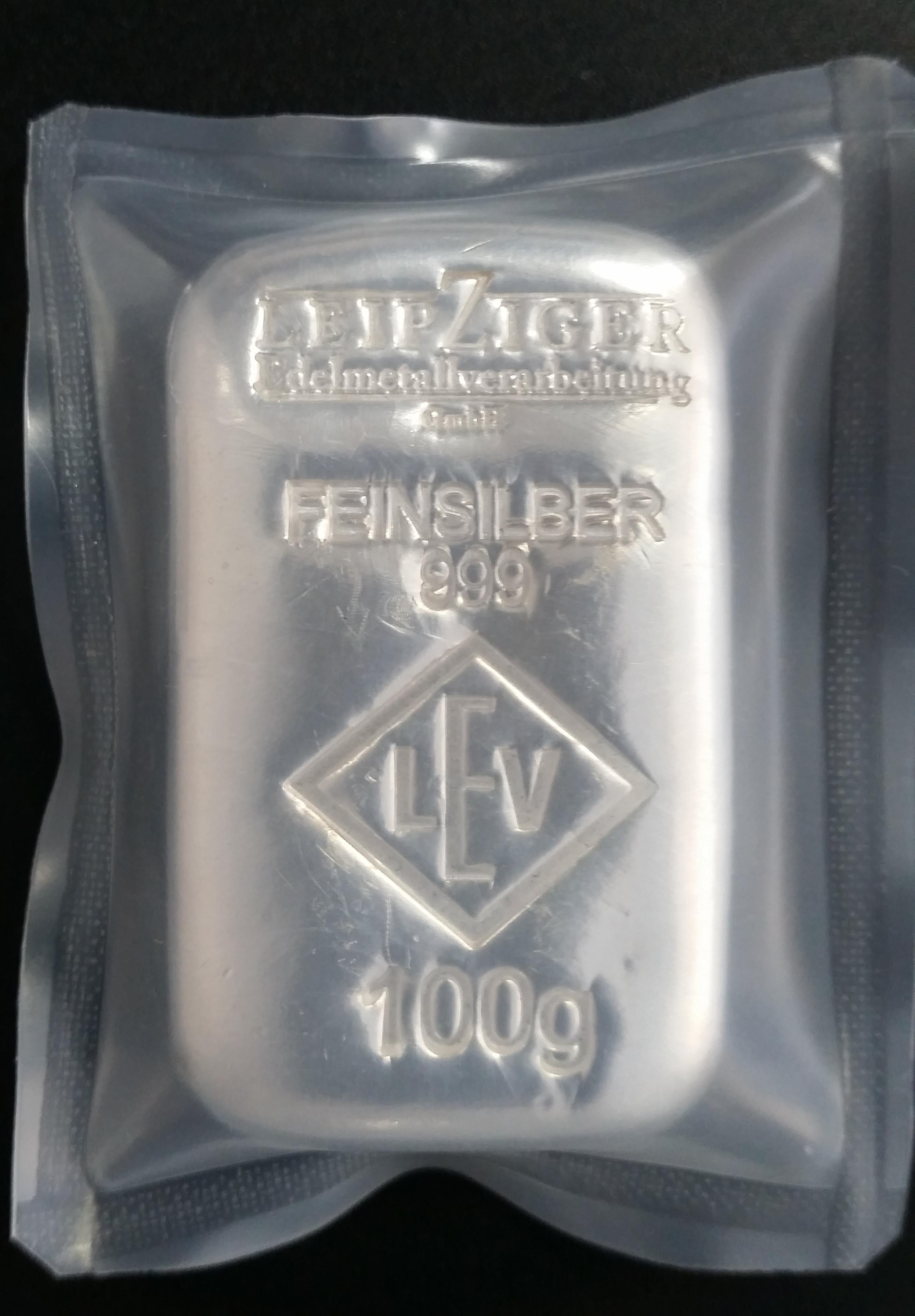 Silberbarren 100g Feinsilber 999 Anlagesilber differenzbesteuert