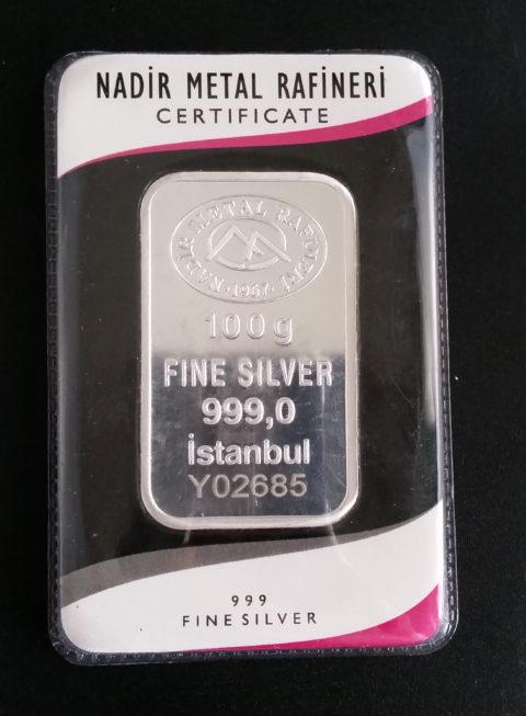 Silberbarren 100g Feinsilber 999 NADIR METAL RAFINERI