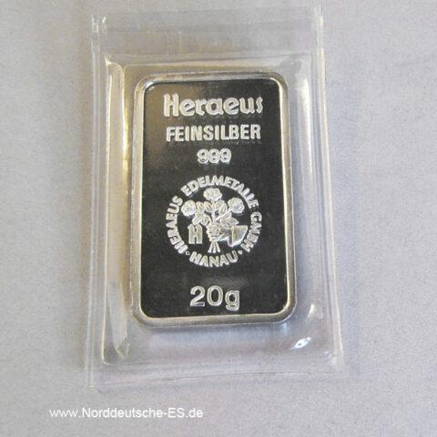 Silberbarren 20gFeinsilber 999 Heraeus
