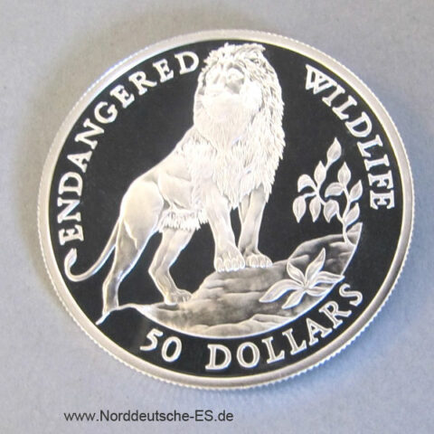 Cook Islands 50 Dollars Silber Endangered Wildlife 1991 Löwe