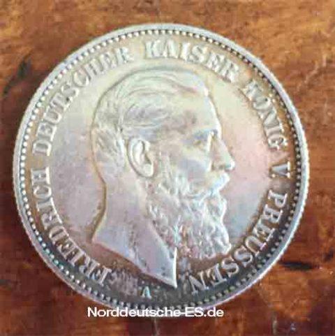Deutsches Reich 2 Mark Friedrich Deutscher Deutsches-Reich-2-Mark-Friedrich-Deutscher-Kaiser-Koenig-von-Preussen-1888
