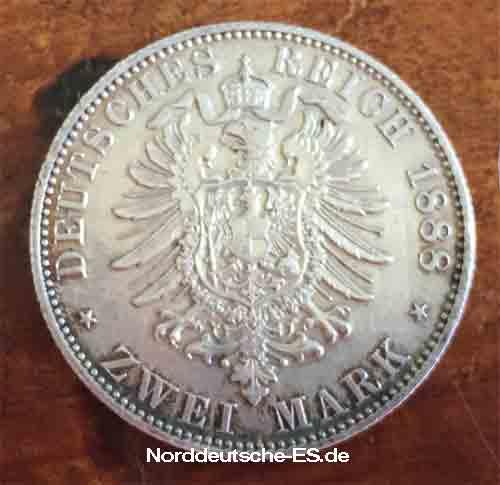 Deutsches Reich 2 Mark Friedrich Deutscher Kaiser Koenig von Preussen