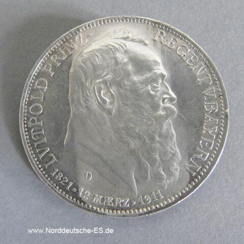 Deutsches Reich Gedenkmünze3 Mark Silber 1911 Luitpold Bayern