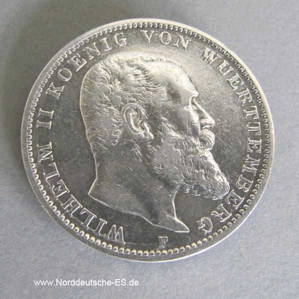 Deutsches Reich 3 Mark Silber Wilhelm Ii Württemberg 1908 1914