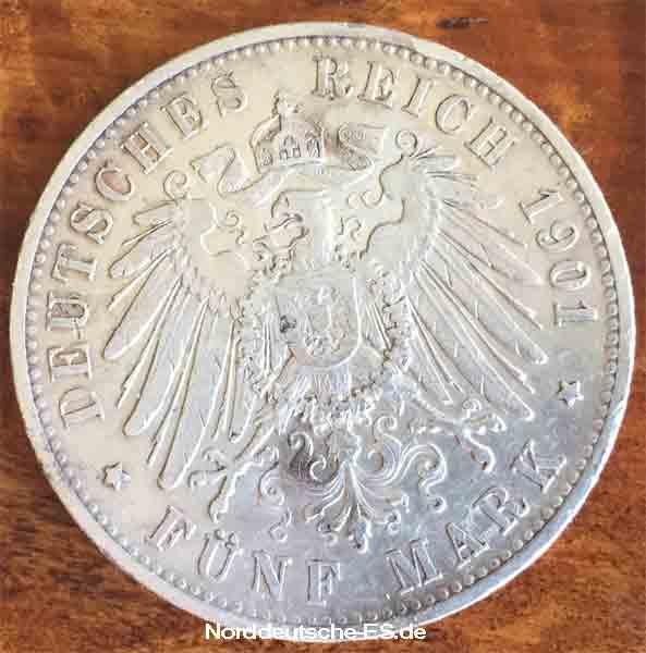 Deutsches-Reich-5-Mark-Wilhelm-II-Koenig-von-Wuerttemberg-1901