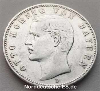 Deutsches Reich 1900 Otto Koenig von Bayern 5 Mark Silber