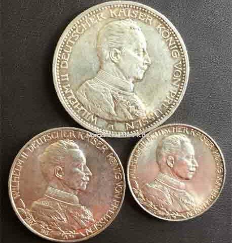 Deutsches-Reich-Wilhelm-II-Deutscher-Kaiser-Koenig-von-Preussen-2,3,5Mark