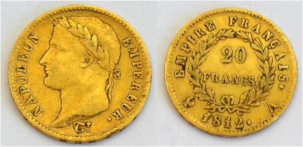Frankreich 20 Francs Napoleon 1812 Gold wertvolle Sammlermuenze
