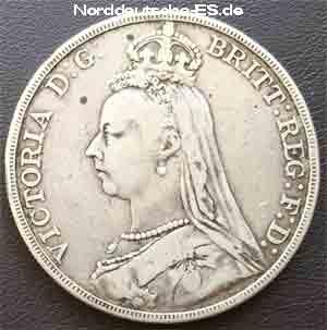 Grossbritannien 1 Krone Crown 1889 Queen Victoria Silber