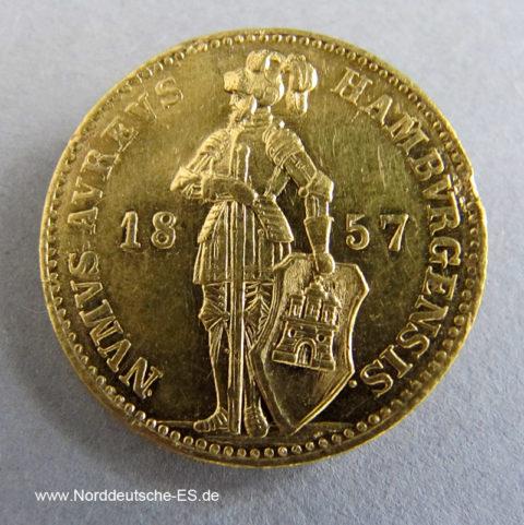 Hamburg 1 Dukat 1857 Ritter mit Schwert 1854-1867 Goldmünze
